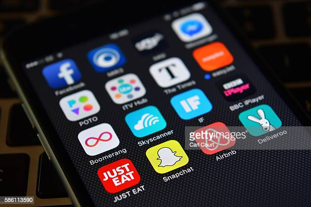 The Snapchat app logo is displayed on an iPhone on August 3 2016 in London England