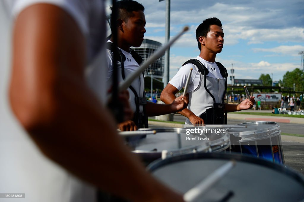The snare drum section of the Cascades from Washington warm up before performing Saturday July 11 2015 at Sports Authority Field At Mile High Stadium...