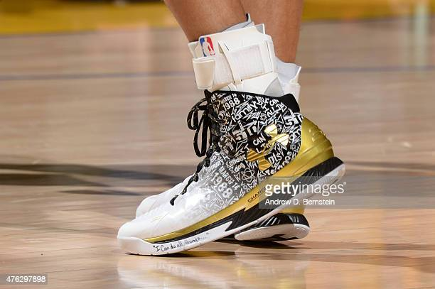 The sneaker of Stephen Curry of the Golden State Warriors during Game Two of the 2015 NBA Finals on June 7 2015 at Oracle Arena in Oakland California...