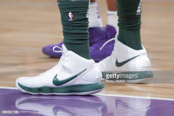 The sneakers belonging to Khris Middleton of the Milwaukee Bucks in a game against the Sacramento Kings on November 28 2017 at Golden 1 Center in...