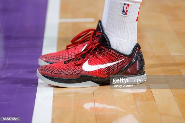 The sneakers belonging to PJ Tucker of the Houston Rockets in a game against the Sacramento Kings on October 18 2017 at Golden 1 Center in Sacramento...