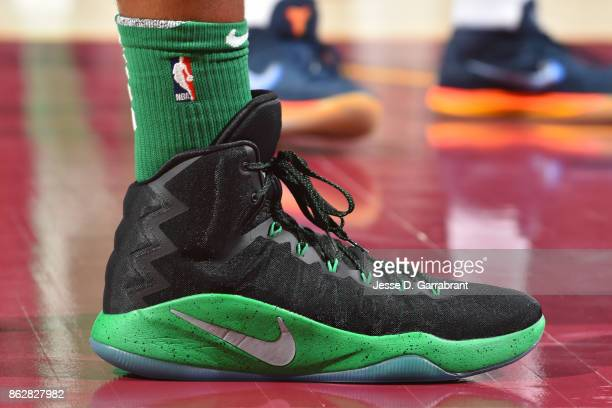 The sneakers of Al Horford of the Boston Celtics during the game against the Cleveland Cavaliers on October 17 2017 at Quicken Loans Arena in...