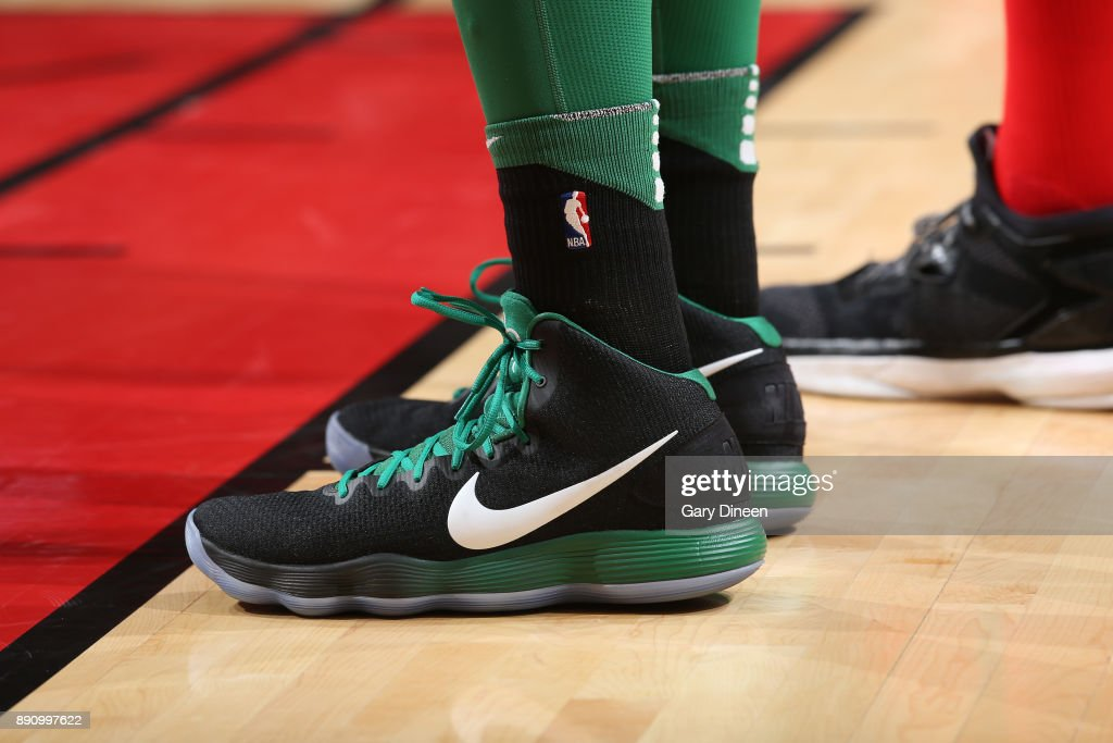 The sneakers of Al Horford #42 of the Boston Celtics during the game against the Chicago Bulls on December 11, 2017 at the United Center in Chicago, Illinois.