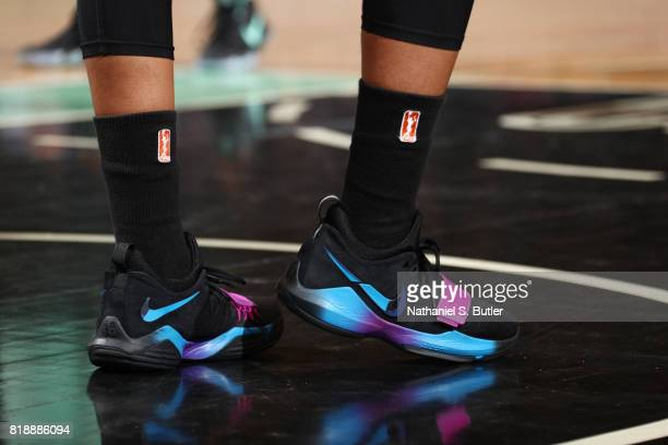 The sneakers of Alex Bentley of the Connecticut Sun are seen during the game against the New York Liberty on July 19 2017 at Madison Square Garden in...