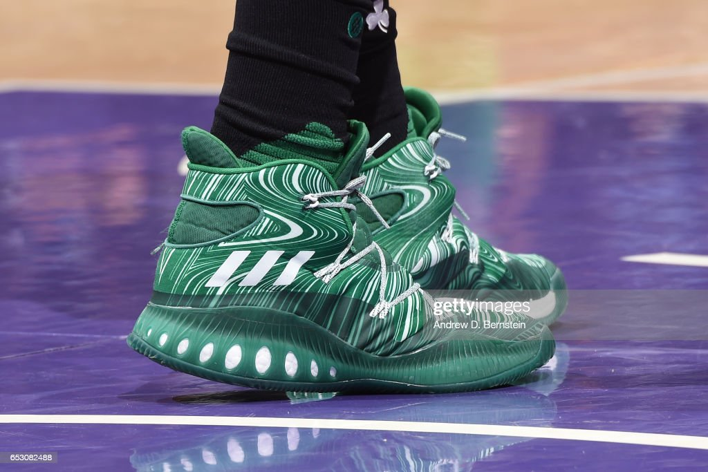 The sneakers of Amir Johnson #90 of the Boston Celtics are seen during the game against the Los Angeles Lakers on March 3, 2017 at STAPLES Center in Los Angeles, California.