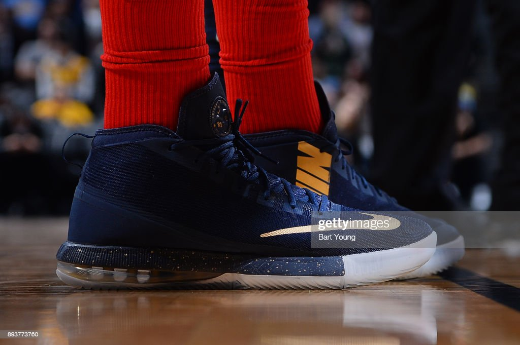 The sneakers of Anthony Davis #23 of the New Orleans Pelicans are seen during the game against the Denver Nuggets on December 15, 2017 at the Pepsi Center in Denver, Colorado.