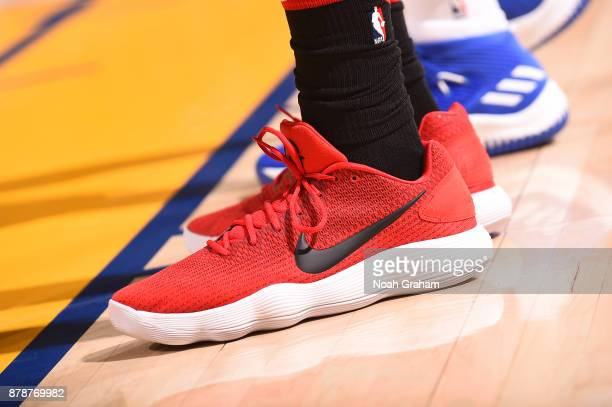 The sneakers of Bobby Portis of the Chicago Bulls are seen during the game against the Golden State Warriors on November 24 2017 at ORACLE Arena in...