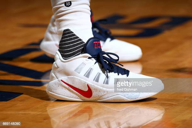 The sneakers of Bradley Beal of the Washington Wizards during the game against the Atlanta Hawks during the Eastern Conference Quarterfinals of the...