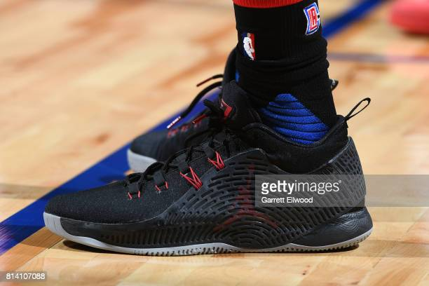 The sneakers of Brice Johnson of the LA Clippers are seen during the game against the Miami Heat on July 13 2017 at the Thomas Mack Center in Las...