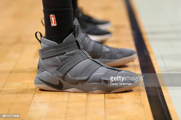 The sneakers of Brittney Griner of the Phoenix Mercury are seen during the game against the Minnesota Lynx on August 22 2017 at Xcel Energy Center in...