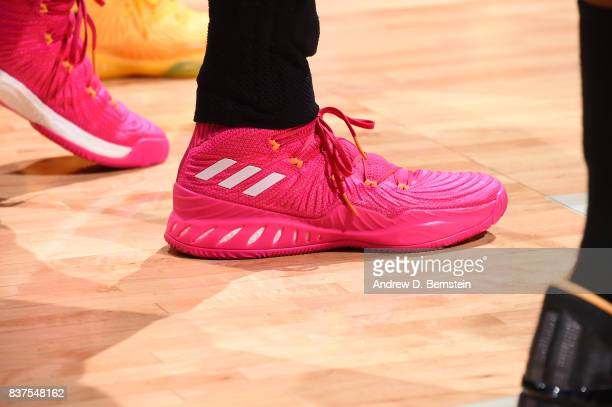 The sneakers of Candace Parker of the Los Angeles Sparks are seen during the game against the San Antonio Stars on August 22 2017 at the STAPLES...