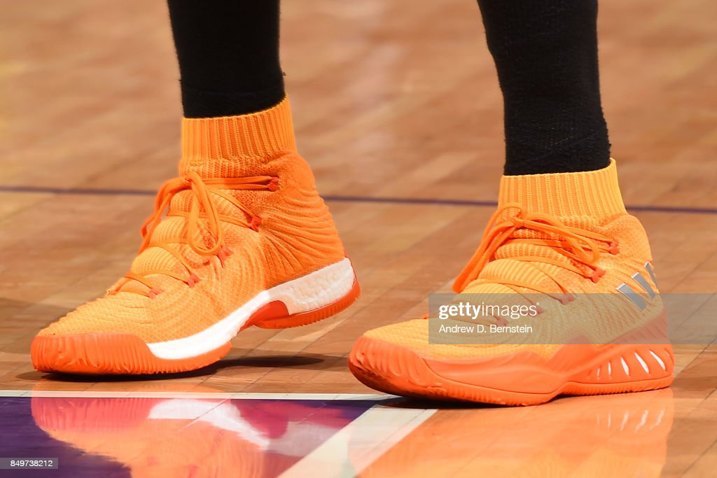 The sneakers of Candace Parker #3 of the Los Angeles Sparks are seen during the game against the Phoenix Mercury in Game One of the Semifinals during the 2017 WNBA Playoffs on September 12, 2017 at STAPLES Center in Los Angeles, California.