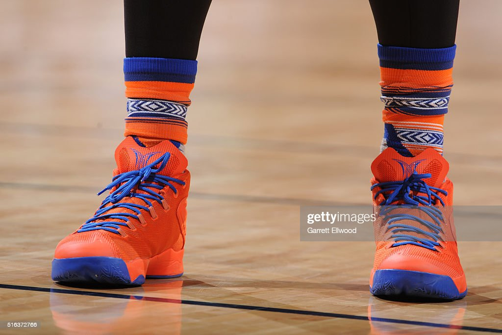 The sneakers of Carmelo Anthony #7 of the New York Knicks during the game against the Denver Nuggets on March 8, 2016 at the Pepsi Center in Denver, Colorado.