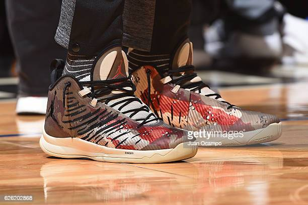 The sneakers of Chris Paul of the LA Clippers are seen during the game against the Portland Trail Blazers on November 09 2016 at STAPLES Center in...