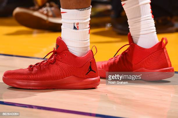 The sneakers of Chris Paul of the Houston Rockets are seen during the game against the Golden State Warriors on October 17 2017 at ORACLE Arena in...