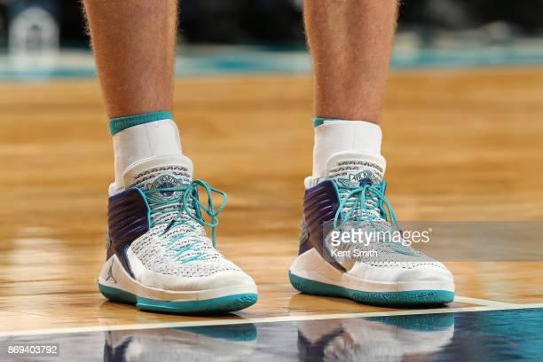 The sneakers of Cody Zeller of the Charlotte Hornets during the game against the Milwaukee Bucks on November 1 2017 at Spectrum Center in Charlotte...