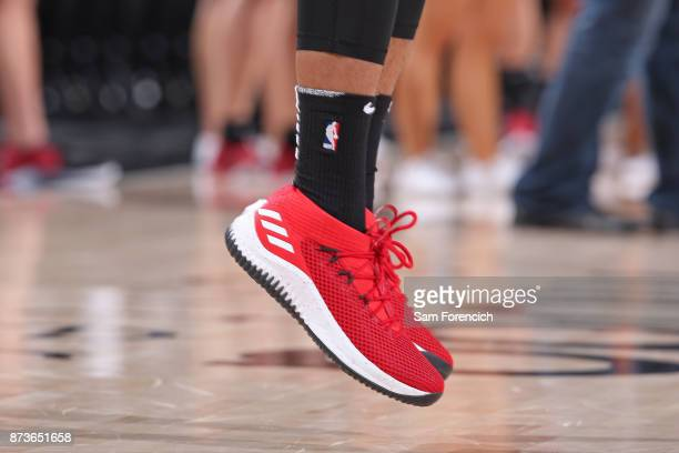 The sneakers of Damian Lillard of the Portland Trail Blazers before the game against the Brooklyn Nets on November 10 2017 at the Moda Center in...