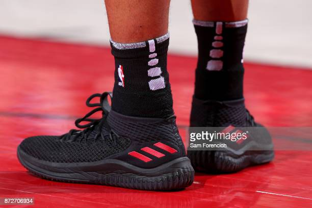 The sneakers of Damian Lillard of the Portland Trail Blazers during the game against the Brooklyn Nets on November 10 2017 at the Moda Center in...