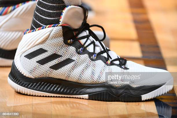 The sneakers of Danilo Gallinari of the Denver Nuggets are seen during a game against the Memphis Grizzlies on February 26 2017 at the Pepsi Center...