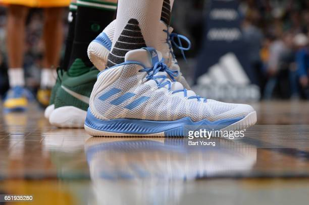 The sneakers of Danilo Gallinari of the Denver Nuggets are seen during the game against the Boston Celtics on March 10 2017 at the Pepsi Center in...