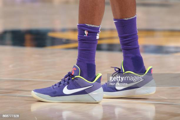 The sneakers of De'Aaron Fox of the Sacramento Kings are seen during the game against the Indiana Pacers on October 31 2017 at Bankers Life...