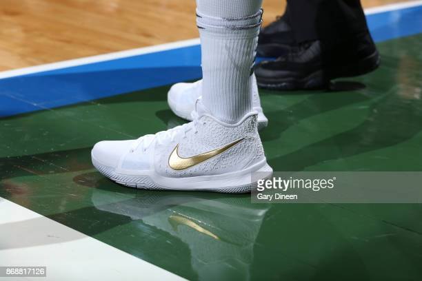The sneakers of DeAndre Liggins of the Milwaukee Bucks are seen during the game against the Oklahoma City Thunder on October 31 2017 at the BMO...