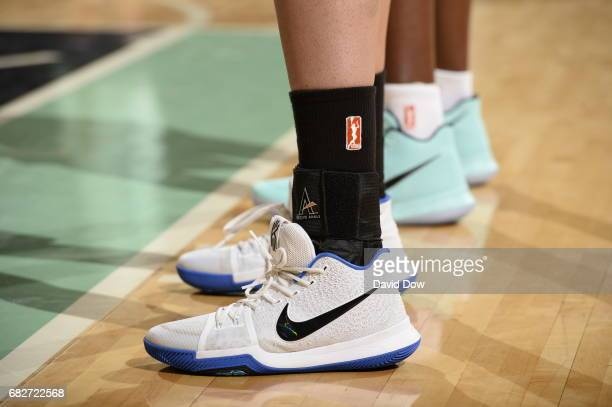 The sneakers of Dearica Hamby of the San Antonio Stars are seen against the New York Liberty at Madison Square Garden on May 13 2017 in New York City...