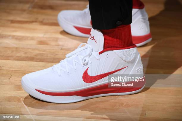 The sneakers of DeMar DeRozan of the Toronto Raptors are seen during the game against the Denver Nuggets on November 1 2017 at the Pepsi Center in...