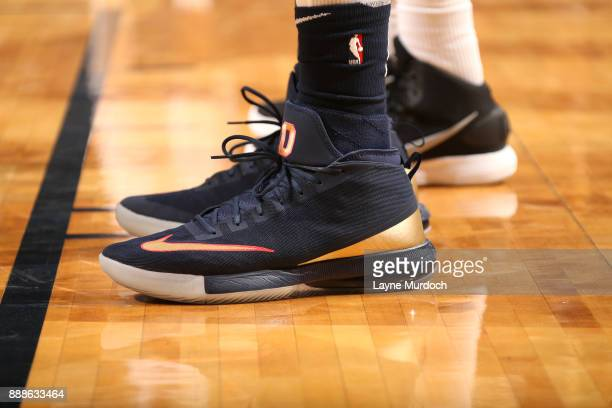 The sneakers of DeMarcus Cousins of the New Orleans Pelicans are seen during the game against the Sacramento Kings on December 8 2017 at Smoothie...