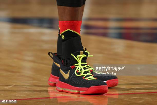 The sneakers of Dennis Schroder of the Atlanta Hawks are seen during the game against the Washington Wizards during the Eastern Conference...