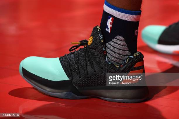 The sneakers of Dennis Smith Jr #1 of the Dallas Mavericks are seen during the game against the Sacramento Kings on July 13 2017 at the Thomas Mack...
