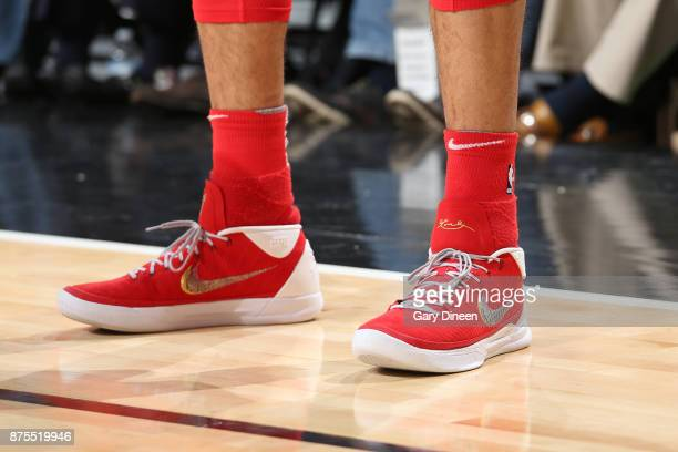 The sneakers of Denzel Valentine of the Chicago Bulls during the game against the Charlotte Hornets on November 17 2017 at the United Center in...