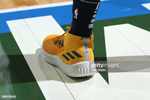 The sneakers of Donovan Mitchell of the Utah Jazz are seen during the game against the Milwaukee Bucks on December 9 2017 at the BMO Harris Bradley...