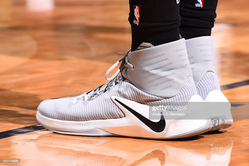 The sneakers of Draymond Green #23 of the Golden State Warriors are seen during a game against the New Orleans Pelicans at Smoothie King Center on October 28, 2016 in New Orleans, Louisiana.