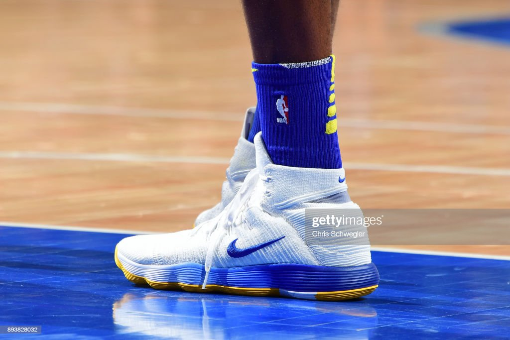 The sneakers of Draymond Green #23 of the Golden State Warriors during the game against the Detroit Pistons on December 8, 2017 at Little Caesars Arena in Detroit, Michigan.