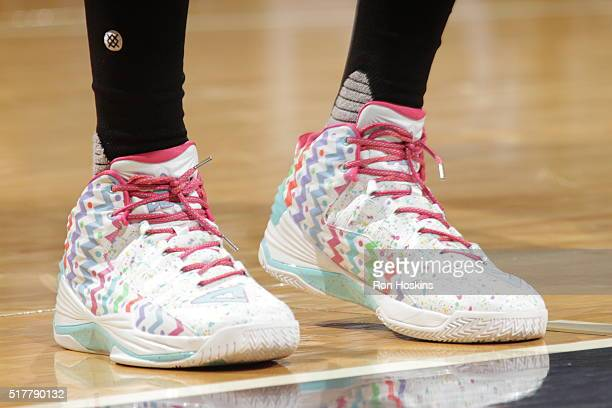 The sneakers of Dwight Howard of the Houston Rockets during the game against the Indiana Pacers on March 27 2016 at Bankers Life Fieldhouse in...