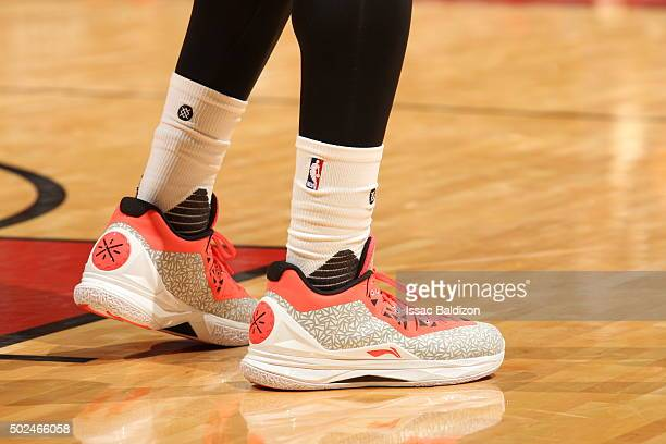 The sneakers of Dwyane Wade of the Miami Heat during the game against the New Orleans Pelicans on December 25 2015 at American Airlines Arena in...