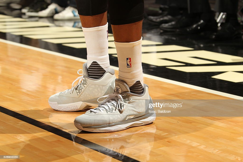 The sneakers of <a gi-track='captionPersonalityLinkClicked' href=/galleries/search?phrase=Dwyane+Wade&family=editorial&specificpeople=201481 ng-click='$event.stopPropagation()'>Dwyane Wade</a> #3 of the Miami Heat during the game against the Charlotte Hornets in Game Seven of the Eastern Conference Quarterfinals during the 2016 NBA Playoffs on May 1, 2016 at American Airlines Arena in Miami, Florida.