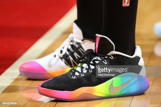 The sneakers of Elena Delle Donne of the Washington Mystics are seen during the game against the Indiana Fever on June 11 2017 at the Verizon Center...