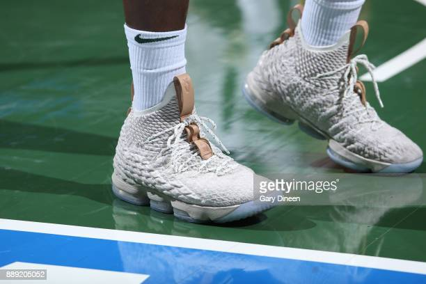 The sneakers of Eric Bledsoe of the Milwaukee Bucks are seen during the game against the Utah Jazz on December 9 2017 at the BMO Harris Bradley...