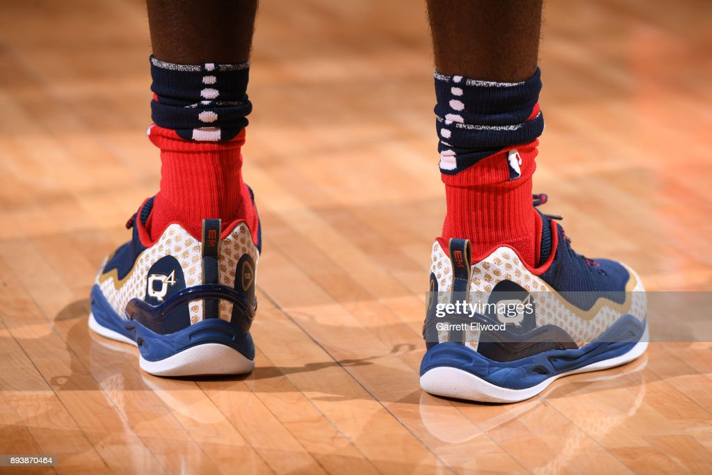 The sneakers of E'Twaun Moore #55 of the New Orleans Pelicans during the game against the Denver Nuggets on December 15, 2017 at the Pepsi Center in Denver, Colorado.
