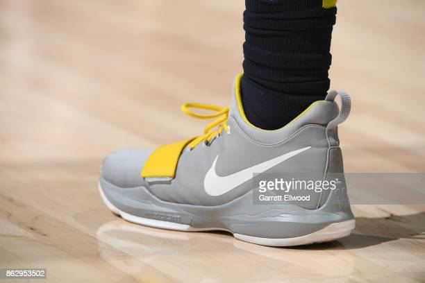 The sneakers of Gary Harris of the Denver Nuggets are seen during the game against the Utah Jazz on October 18 2017 at vivintSmartHome Arena in Salt...