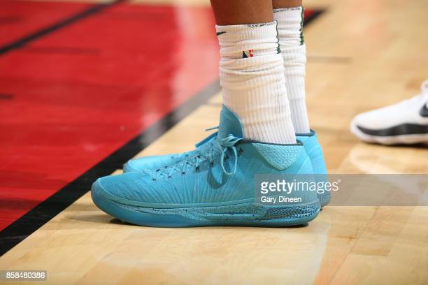 The sneakers of Giannis Antetokounmpo of the Milwaukee Bucks are seen during the preseason game against the Chicago Bulls on October 6 2017 at the...