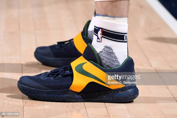 The sneakers of Gordon Hayward of the Utah Jazz during the game against the Los Angeles Clippers during the Western Conference Quarterfinals of the...