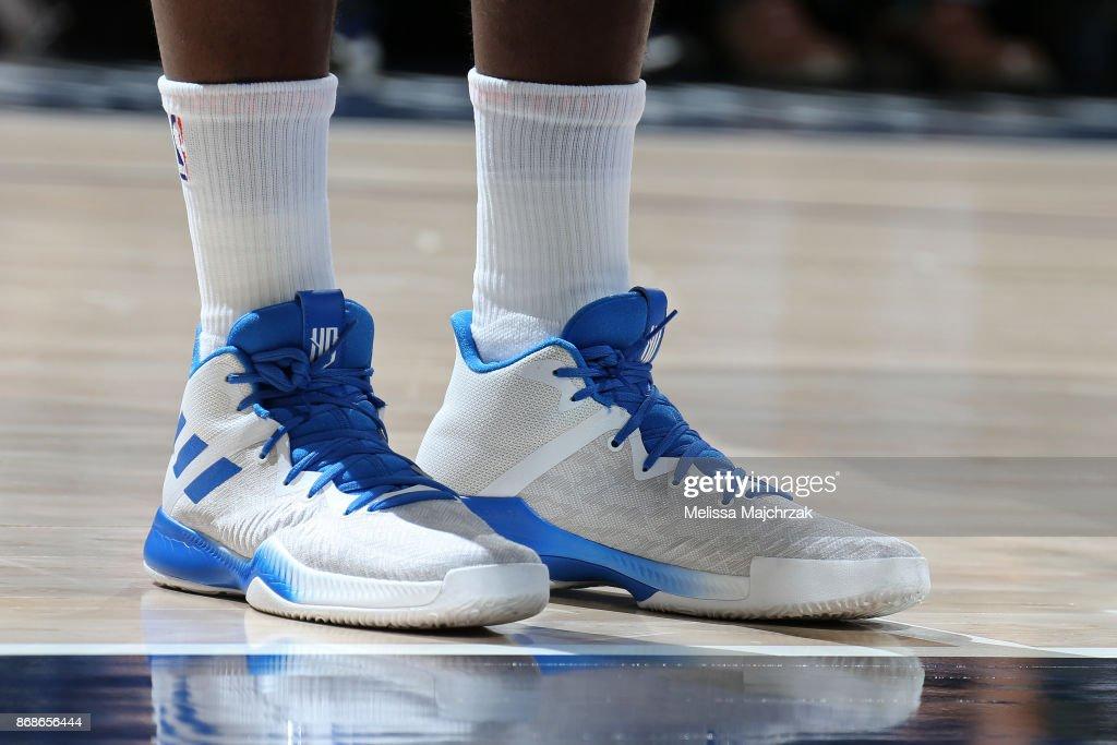 The sneakers of Harrison Barnes #40 of the Dallas Mavericks during the game against the Utah Jazz on October 30, 2017 at Vivint Smart Home Arena in Salt Lake City, Utah.