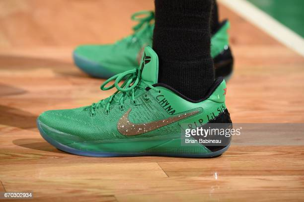 The sneakers of Isaiah Thomas of the Boston Celtics during the game against the Chicago Bulls in Game Two of the Eastern Conference Quarterfinals of...