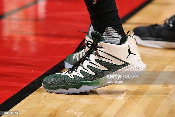 The sneakers of Jabari Parker of the Milwaukee Bucks are seen during the game against the Chicago Bulls on December 16 2016 at the United Center in...