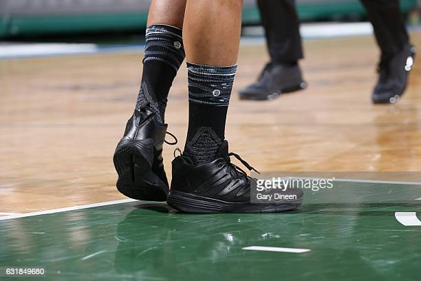 The sneakers of Jabari Parker of the Milwaukee Bucks wearing Stance socks are seen during the game against the Philadelphia 76ers on January 16 2017...