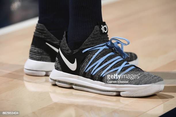 The sneakers of Jamal Murray of the Denver Nuggets are seen during the game against the Utah Jazz on October 18 2017 at vivintSmartHome Arena in Salt...