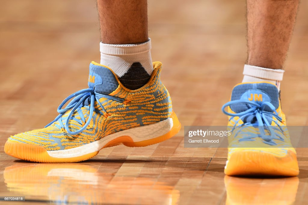 The sneakers of Jamal Murray #27 of the Denver Nuggets during the game against the Los Angeles Lakers on March 13, 2017 at the Pepsi Center in Denver, Colorado.